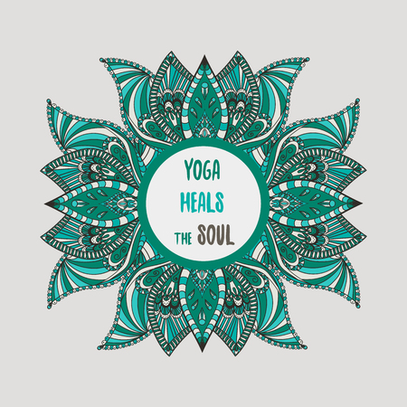 yoga heals the soul lettering with lotus flowers Иллюстрация