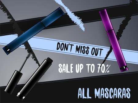 grooming: Vector Mascara Package Design on Advertising Poster Illustration