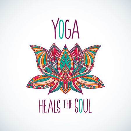 Yoga heals the soul typography with colorful lotus