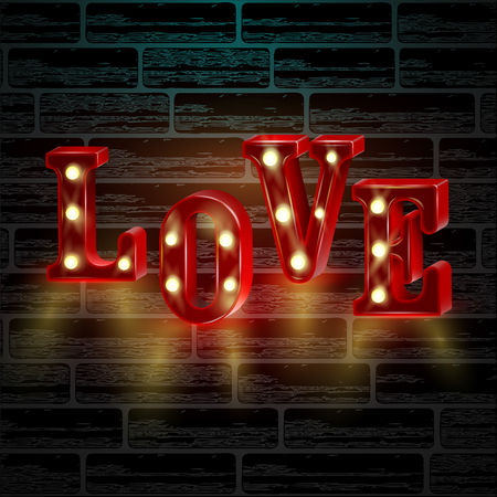 Neon 3d word Love with lights. Happy Valentines Day greeting card or banner.