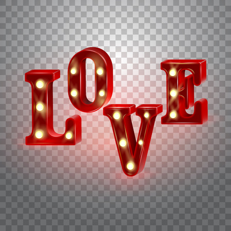 Neon 3d word Love with lights. Vector illustration.