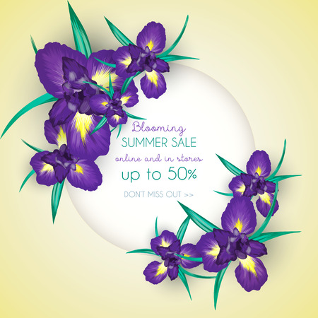 Summer sale background with iris flowers