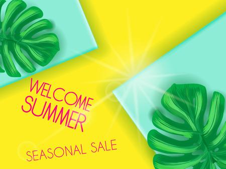Summer sale on papper background witn palm leaves Illustration