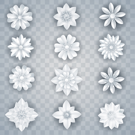 set of vector white paper flowers Çizim