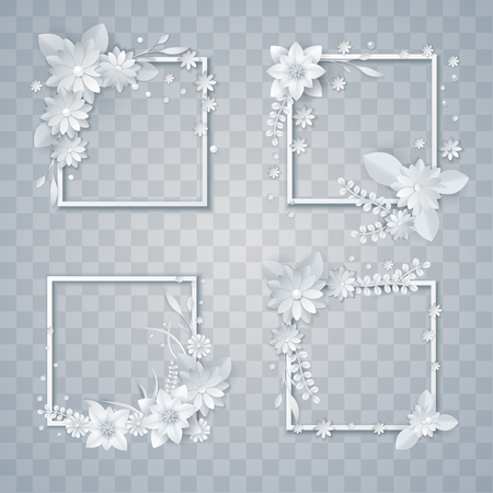 set of white paper flowers and leaves, vector floral design elements