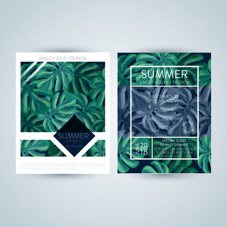 Set of bright and trendy summer posters with palm tropic leaves