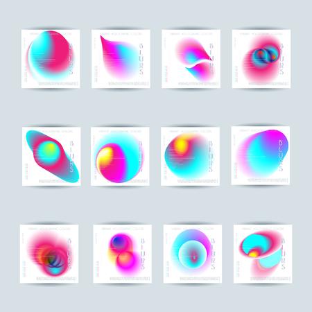 Set of Abstract colorful blur vibrant gradient drop liquid cover design