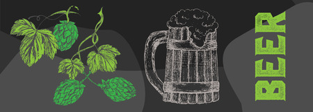 Creative beer set with icons of mug, bottle, glass, can, cover, wheat, hop, tap, cancer, opener and barrel. Vector illustration. Beer graphical objects used for beer festival, brewery, bar or pub.