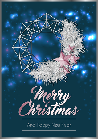 Christmas Poster or Card Template with Wreath