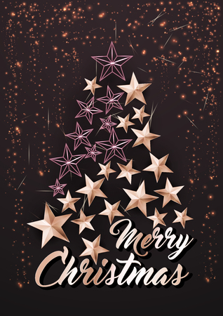 Christmas Poster or Card Template with Stars Tree Stok Fotoğraf