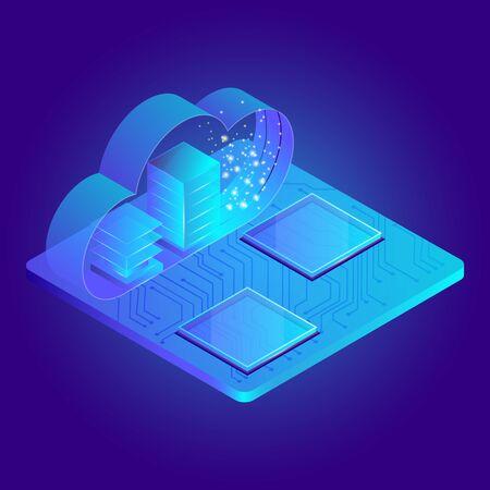 Modern 3d flat design isometric concept for cloud service online media file data backup storage