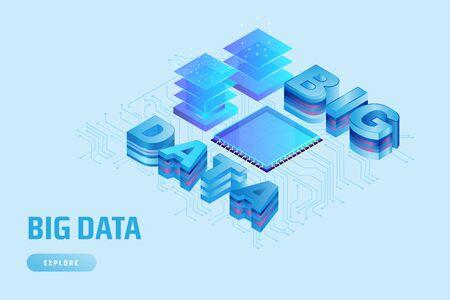 Modern 3D isometric design concept for Big Data Service Иллюстрация