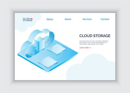 Modern 3d flat design isometric landing page concept for cloud service online media file data backup storage