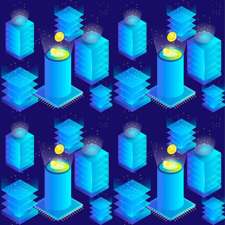 Isometric 3d currency mining bitcoin server room