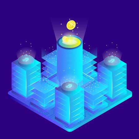 Isometric 3d currency mining and earning, blockchain, bitcoin server room
