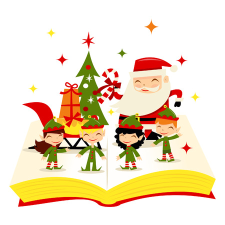 story book: Christmas Santa Elves Story Book Illustration