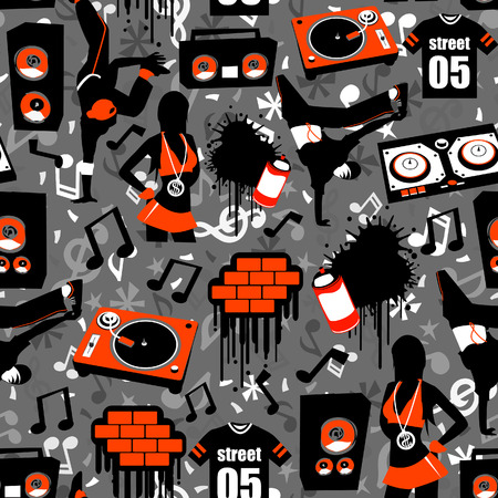 hiphop: Hip Hop Street Seamless Pattern