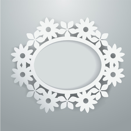papercut: A illustration of a white paper cut floral oval frame on a gray background.