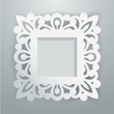 A illustration of a white paper cut vintage lace ornate square frame on gray background.