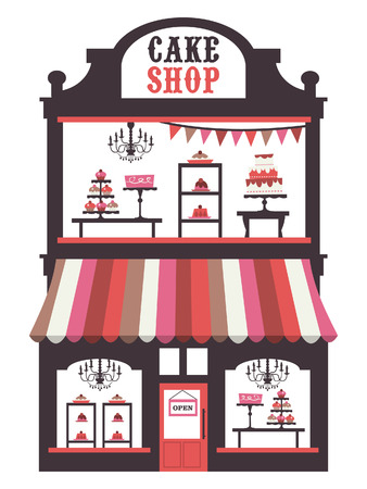 shop window display: A chic illustration of a vintage Victorian double story cake shopfront with large window display. On the window display, there are cakes, cupcakes, desserts and pies. Illustration