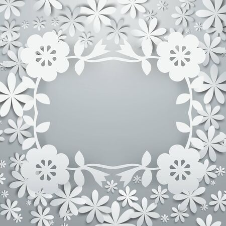 This illustration is filled with cluster of white paper cut flowers layering on a gray background. Illustration