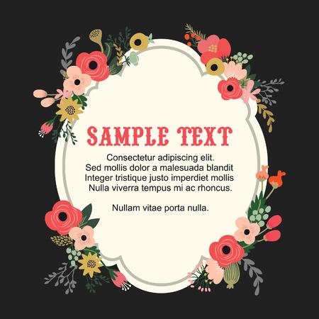 formal garden: A illustration of vintage inspired hand drawn botanical flowers around artisan frame. Great for vintage wedding cards, invitations and social media images.