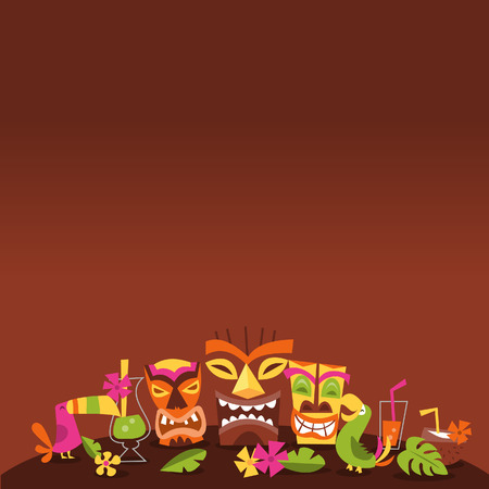 A illustration of 1960s retro inspired cute hawaiian luau party tiki theme with dark background copy space above. Illustration