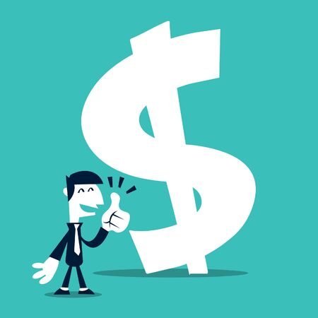 thumbup: A minimalism retro cartoon illustration of a business man in tie and suit happy and thumbs up at a huge money sign.