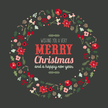 copy text: A illustration of a vintage hand drawn Christmas botanical foliage wreath with copy text area.