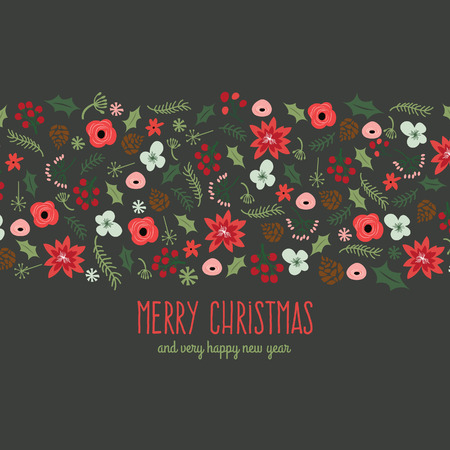 A illustration of a vintage hand drawn Christmas botanical foliage scatter in a strip with copy text area.