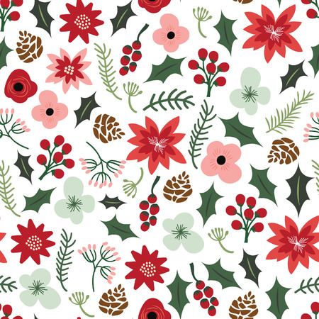 formal garden: A illustration of vintage hand drawn Christmas botanical foliage flowers seamless pattern background. Illustration