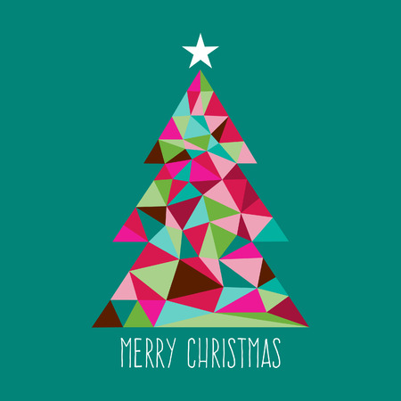 estrella caricatura: Una ilustración de la moderna y elegante triángulo geométrico del árbol de Navidad con una decoración de la estrella en la parte superior.