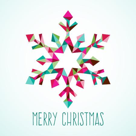 A illustration of modern and stylish geometric triangle Christmas winter snowflake on a light blue background. Ilustracja