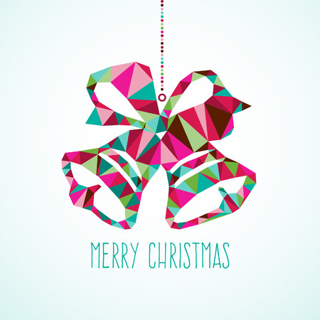 christmas bell: A illustration of modern and stylish hanging geometric triangle Christmas bell on a light blue background.