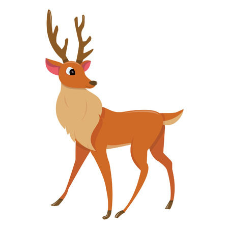 renos de navidad: Una ilustración de dibujos animados de un reno guapo o ciervo mirando a su espalda.