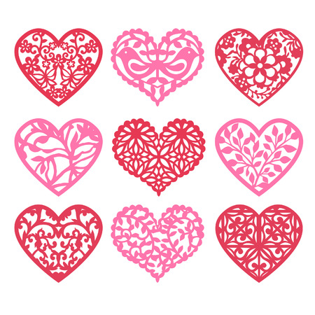 A illustration of nine various lace fretwork hearts set from geometric lace to nature inspired lattice heart shape.