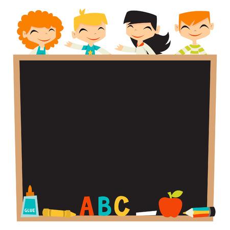 A illustration of retro kids back to school theme blackboard background copy space.