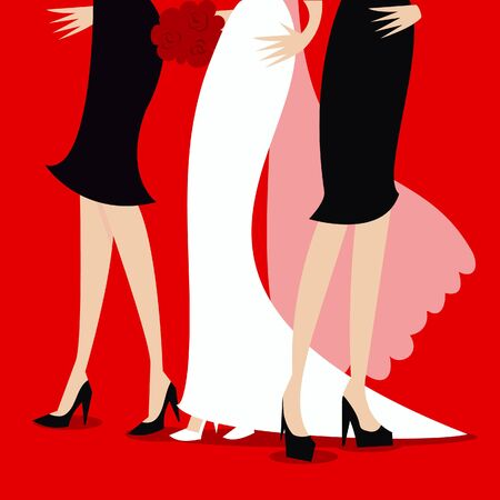 bridal party: A illustration of a bridal party.