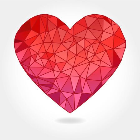 facet: A illustration of a floating geometric triangle facet heart on a light gray background. Illustration