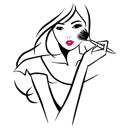 A  ink line art style illustration of a beautiful girl applying makeup on her face.