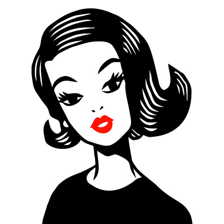 A illustration of a retro vintage 1950s girl illustration in ink style. The illustration is in black, white and red colour scheme. Иллюстрация
