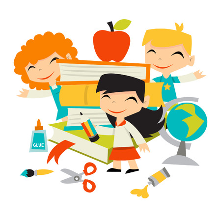 A illustration of retro kids back to school theme. Three preschool kids are surrounding a stack of books with school stationery like scissors, paintbrush, glue, pencil and a globe. Illustration