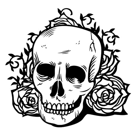 rose tattoo: A illustration of dark Gothic skull and flowers. The illustration is in black and white color scheme and done in ink tattoo style. The skull is on a separate layer from the flowers background. Illustration