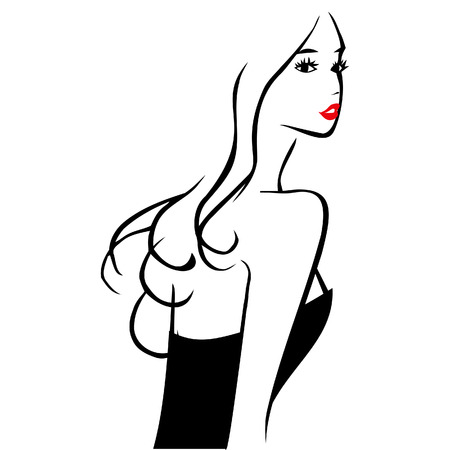 A  ink line art style illustration of beautiful girl from the back. Illustration