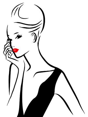 잉크 스타일 라인 아트 매력적인 여자의 그림. 일러스트