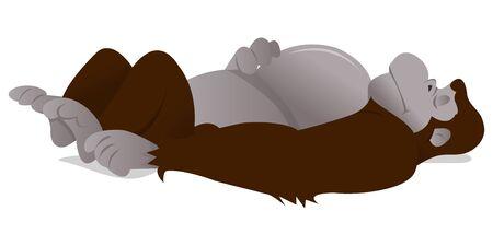 その裏にぐっすり寝ているゴリラの漫画イラスト。文字は分離の白い背景の上です。
