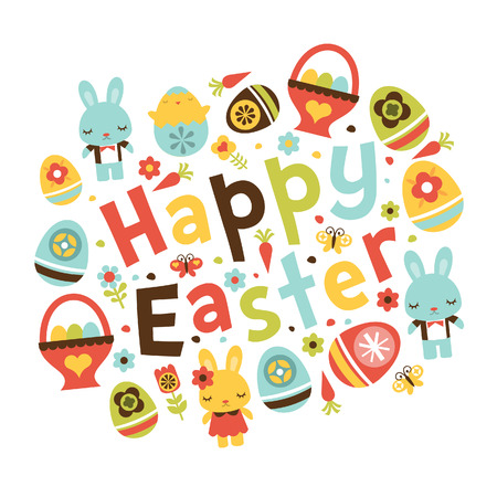 A illustration of a modern twist retro folk art inspired happy easter phrase surrounded by easter symbols like easter bunny, easter eggs basket, easter eggs and cute decorative design elements.