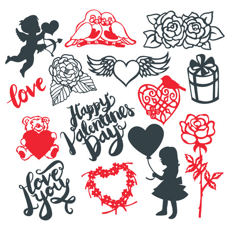 A illustration of silhouette or paper cut style valentine day design elements.