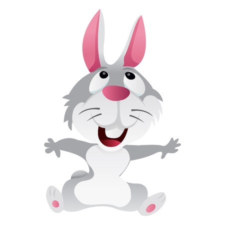 hoping: A cartoon illustration of a cute light grey rabbit sitting happily and looking up. Illustration