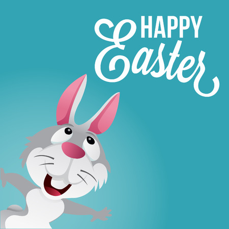 hoping: A cartoon illustration of a cute light grey rabbit looking up at happy Easter phrase. The text, rabbit and blue background are on separate layers. Illustration
